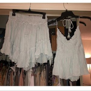 NWT Free People Two Piece Set Sky Blue Size Small
